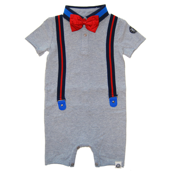 Silk Bow Tie Suspender Romper by: Mini Shatsu