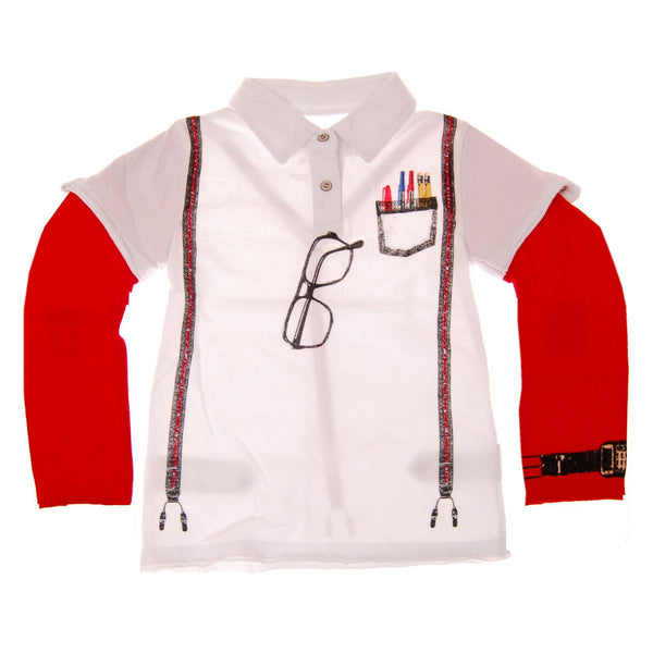 Boy Genius Long Sleeve Baby Polo Shirt by: Mini Shatsu