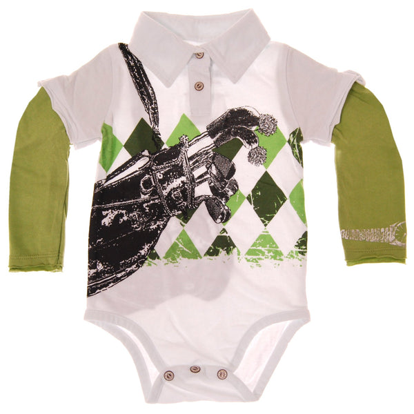 Pro Golfer Argyle Long Sleeve Polo Bodysuit by: Mini Shatsu