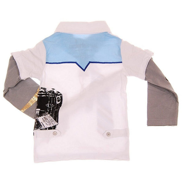 Young CEO Blue Tie Baby Long Sleeve Polo Shirt by: Mini Shatsu