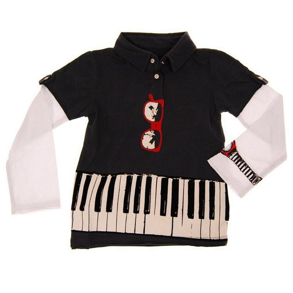Keyboardist Long Sleeve Baby Polo Shirt by: Mini Shatsu