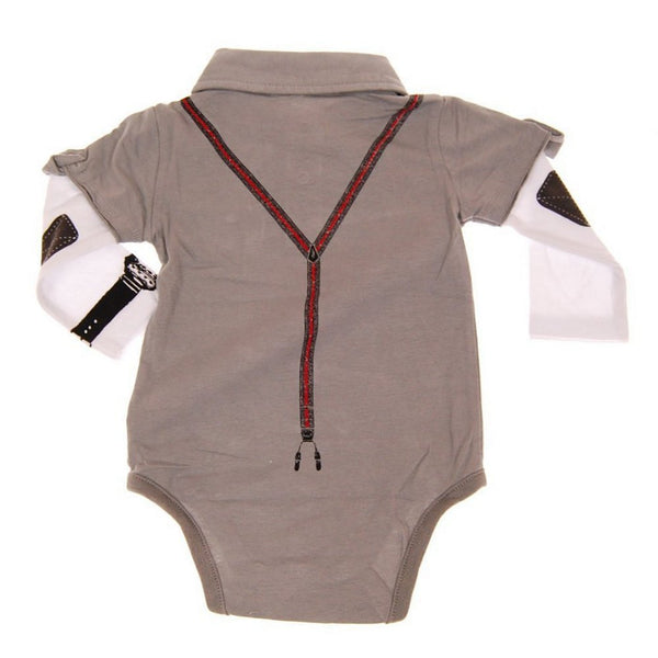 Boy Genius Grey Long Sleeve Polo Bodysuit by: Mini Shatsu