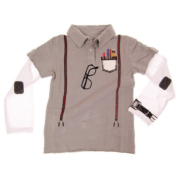 Boy Genius Grey Baby Long Sleeve Polo Shirt by: Mini Shatsu
