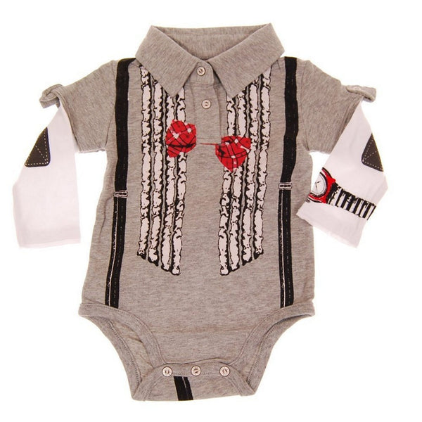 Ruffle Bow Tie Suspenders Long Sleeve Polo Bodysuit by: Mini Shatsu