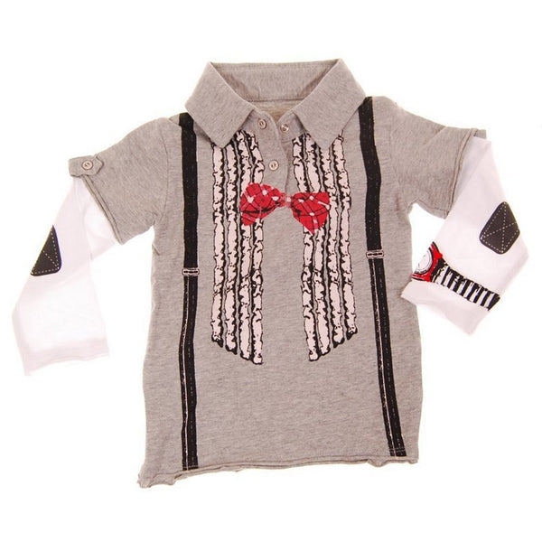 Ruffle Bow Tie Suspenders Baby Long Sleeve Polo Shirt by: Mini Shatsu