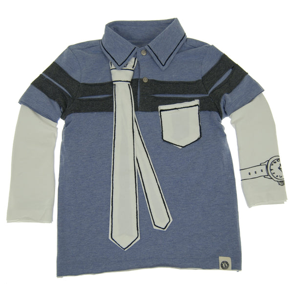 Inside The Lines Tie Baby Polo Shirt by: Mini Shatsu