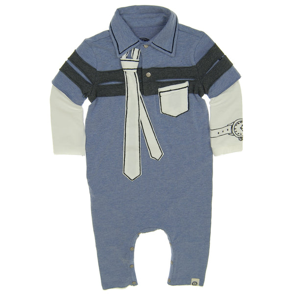 Inside The Lines Tie Baby Polo Romper by: Mini Shatsu