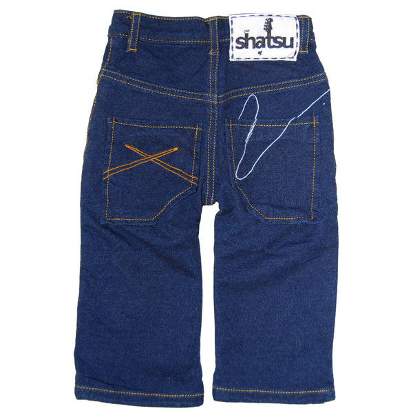 Raefer Blue Washed French Terry Baby Jeans by: Mini Shatsu