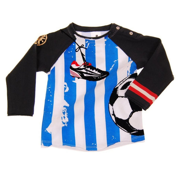 Soccer Long Sleeve Baby Raglan Shirt by: Mini Shatsu