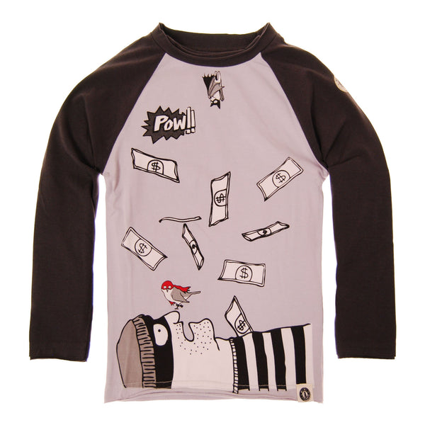 Bat and Robin Raglan Shirt by: Mini Shatsu