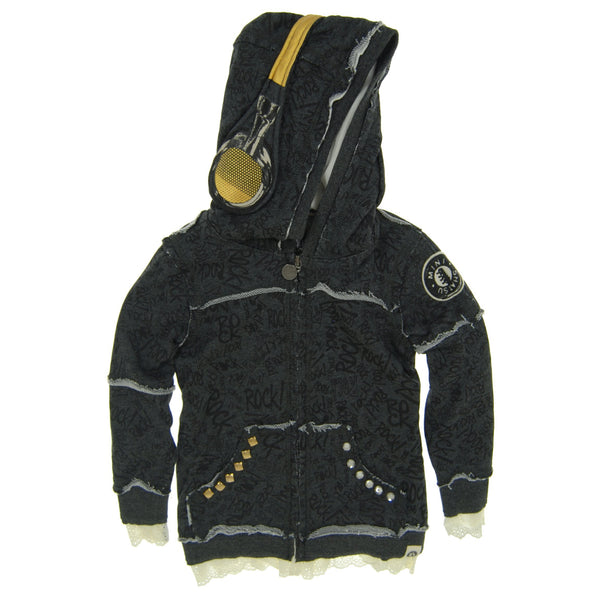 Rock Graffiti Headphone Lace Hoody by: Mini Shatsu