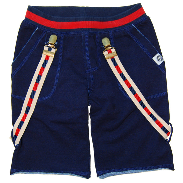 Navy Suspender Baby Shorts by: Mini Shatsu
