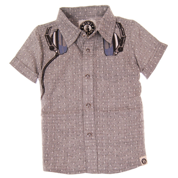 Polka Dot Headphones Button Down Shirt by: Mini Shatsu