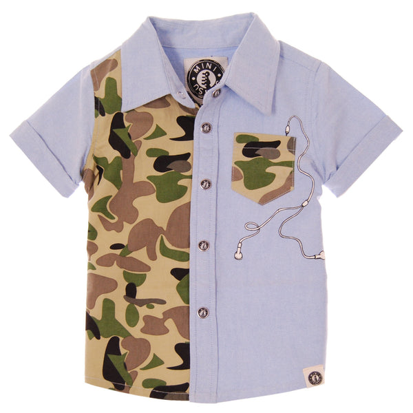 Urban-Camo Button Down Shirt by: Mini Shatsu