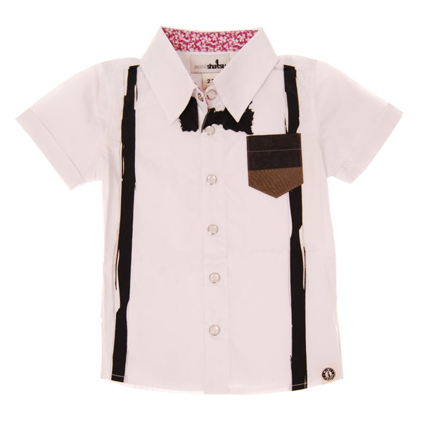 Painted Bow Tie Suspenders Button Down Shirt by: Mini Shatsu