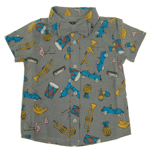 Havana Summer Bow Tie Baby Button Down Shirt by: Mini Shatsu