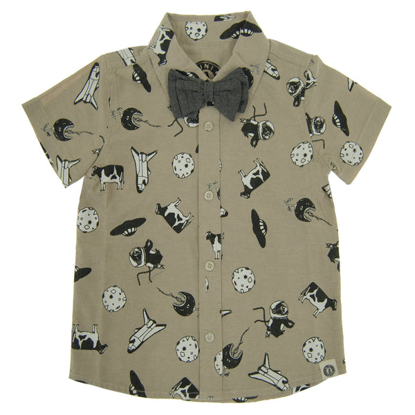 Out Of This World Bow Tie Button Down Shirt by: Mini Shatsu
