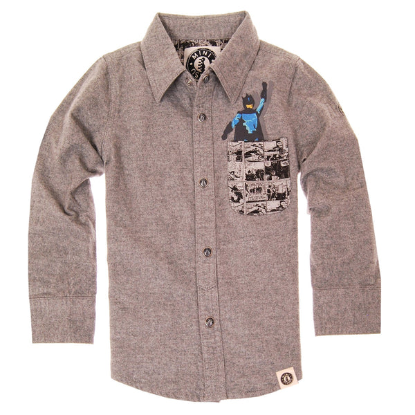 Pow! Pocket Super Hero Button Down Shirt by: Mini Shatsu
