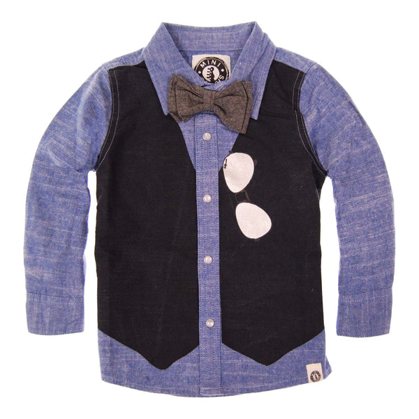 Bow Tie Vest Button Down Shirt by: Mini Shatsu