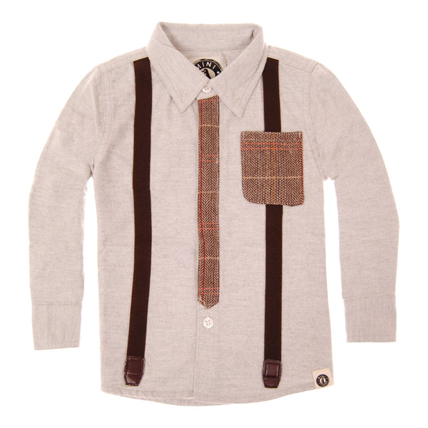 Tweed Tie and Suspenders Button Down Shirt by: Mini Shatsu