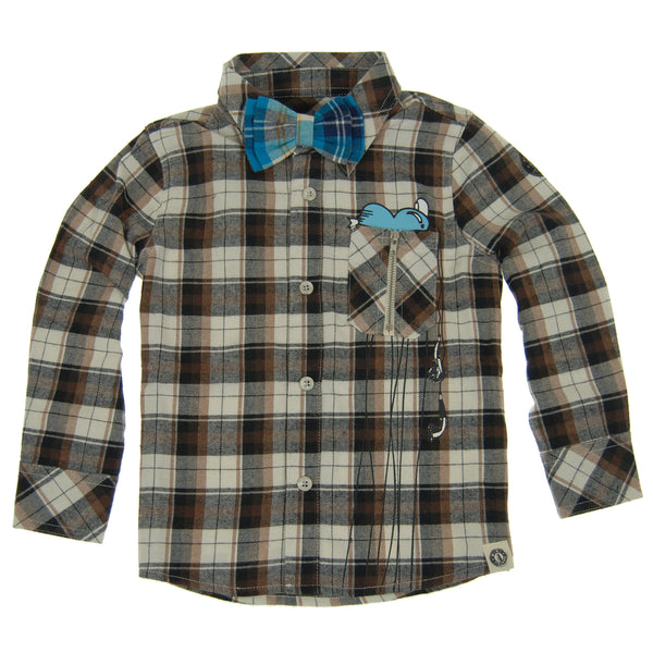 Plaid Music Lover Button Down Baby Shirt by: Mini Shatsu