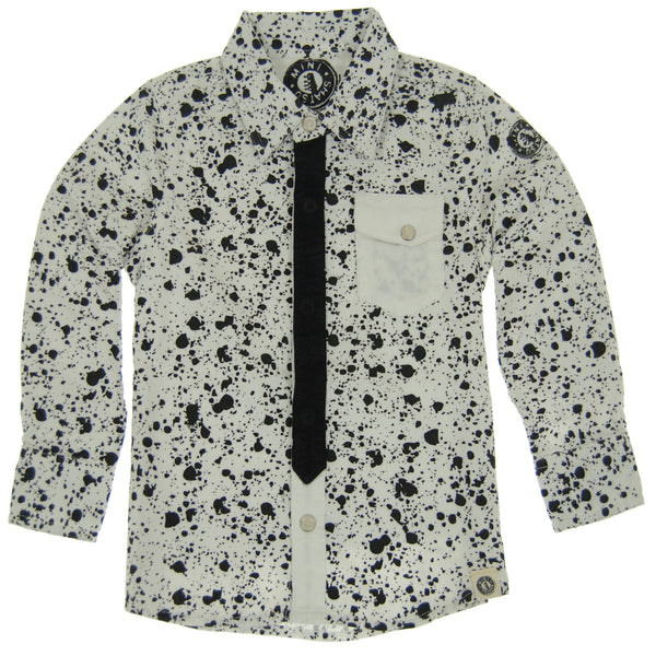 Black Tie Paint Splatter Button Down Shirt by: Mini Shatsu