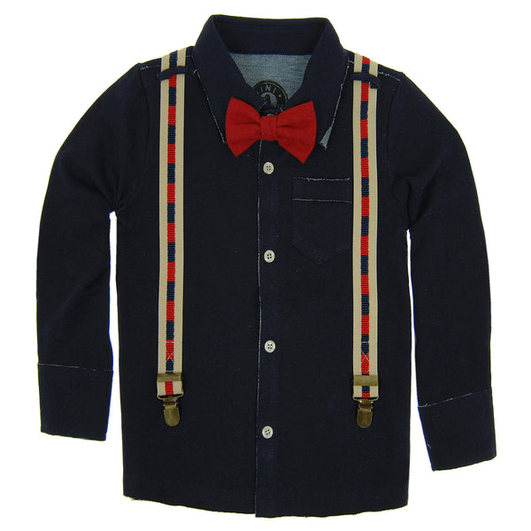 Red Bow Tie Suspender Button Down Shirt by: Mini Shatsu