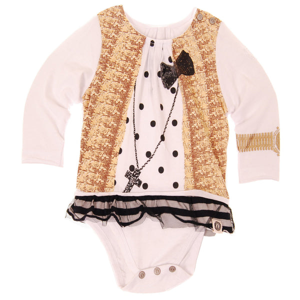 Polka Dot & Sequins Vest Tunic Bodysuit by: Mini Shatsu
