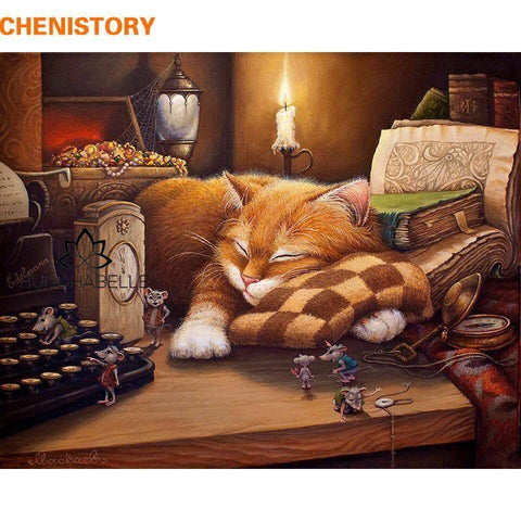 Frameless Diy Painting By Numbers Sleeping Cat Wall Art Lover