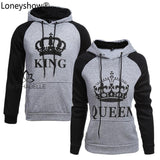 King/queen Crown Print Hoodies Womans Tops