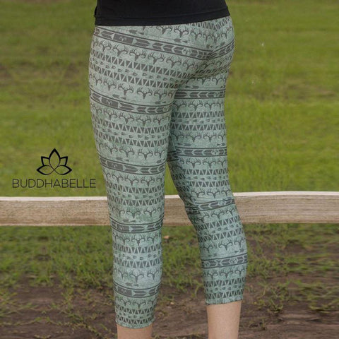 Muted Xmas Fitness Capris Army Green / L