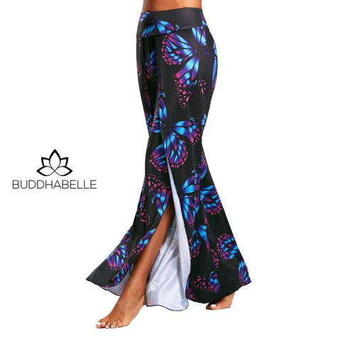 Butterfly Print High Split Flowy Wide Leg Yoga Pants Athletic