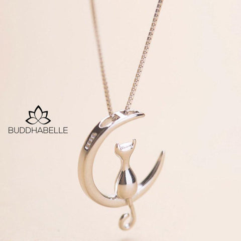 Cat Moon Pendant Necklace Charm Lover