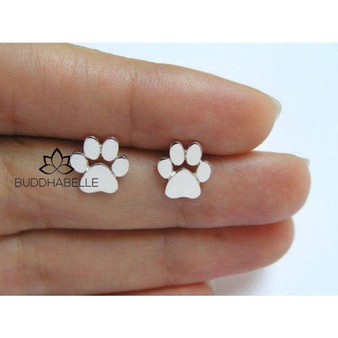 Cute Paw Print Stainless Steel Earrings (3 Metal Colors Available) Jewelry