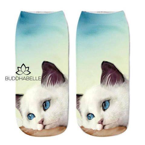 Cat Print Ankle Socks G Lover