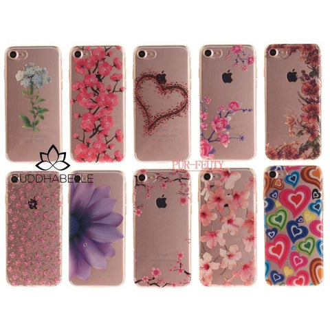 Pink Plum Print Soft Silicone Iphone Case Cell Phone Accessories