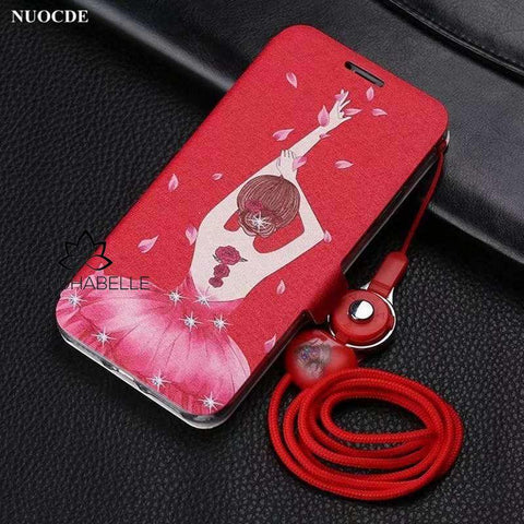Pink Dress Flip Leather Phone Cover For Iphone With Lanyard Cell Phone Accessories
