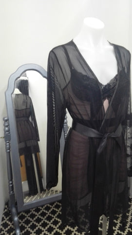 Sheer Black Robe O/S