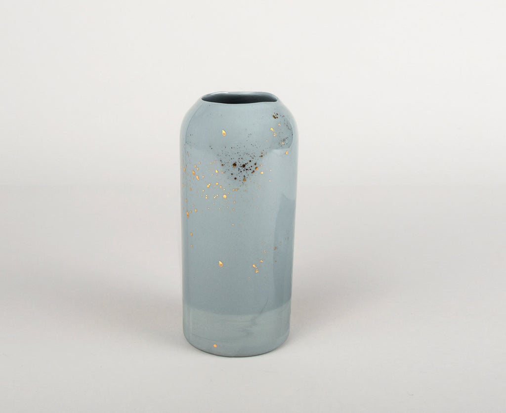 Vase Brillant Gris Nuage & Or