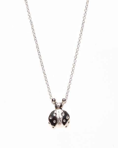 Pretty Silver Lady Bug Pendant