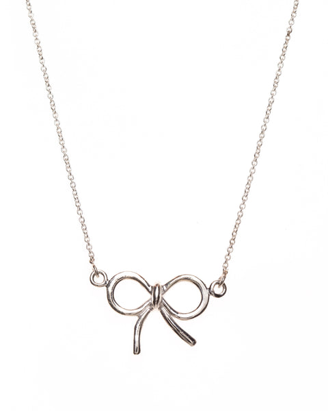 Pretty Silver Bow Necklace