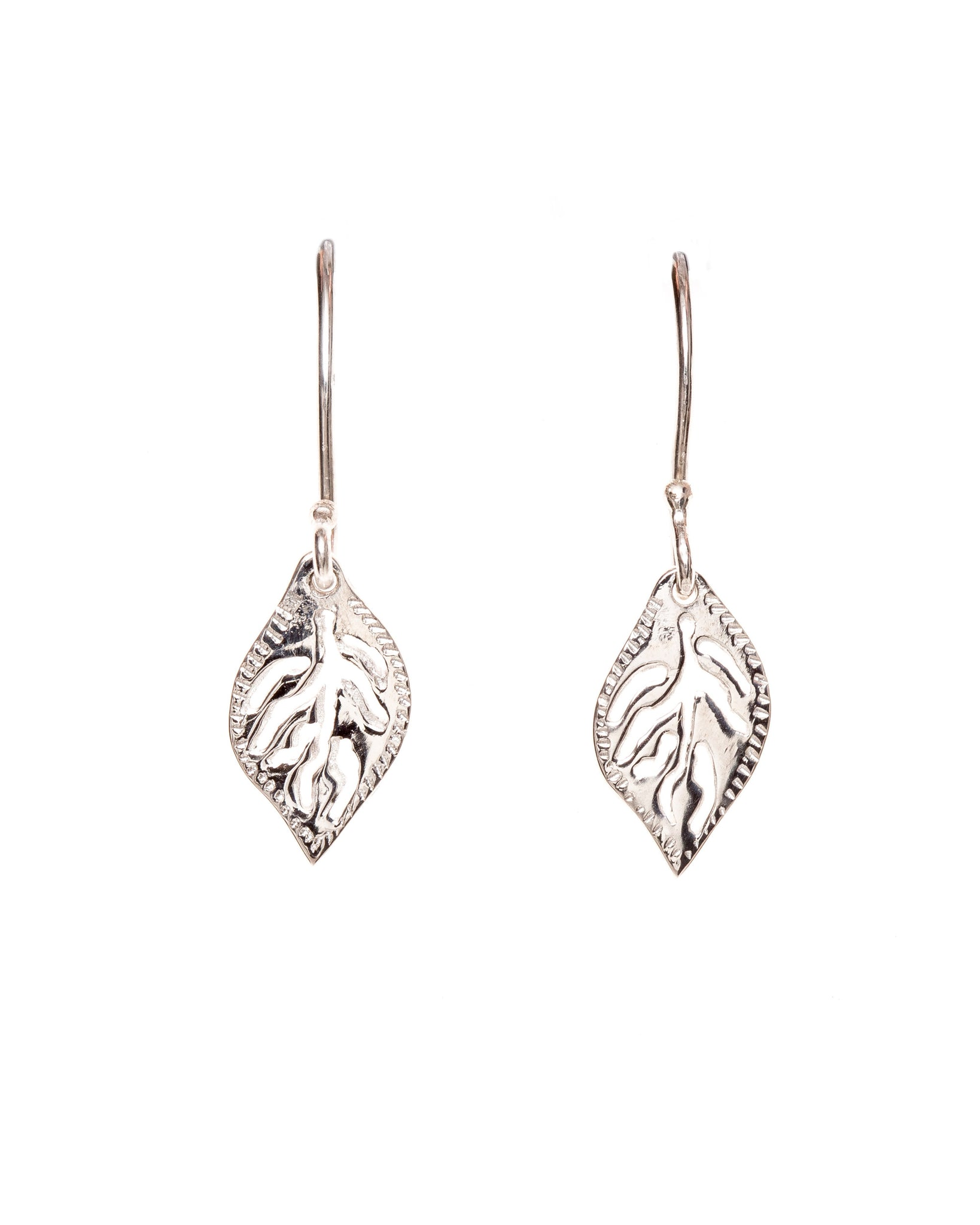 Pretty Silver Openwork Leaf Earrings