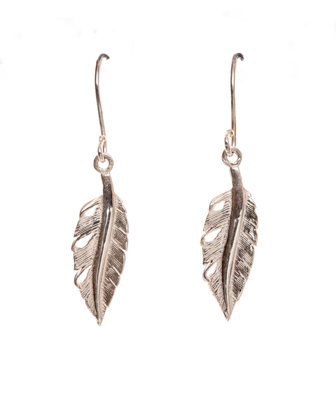 Pretty Silver Feather Earrings