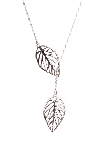 Pretty Silver Openwork Leaf Necklace