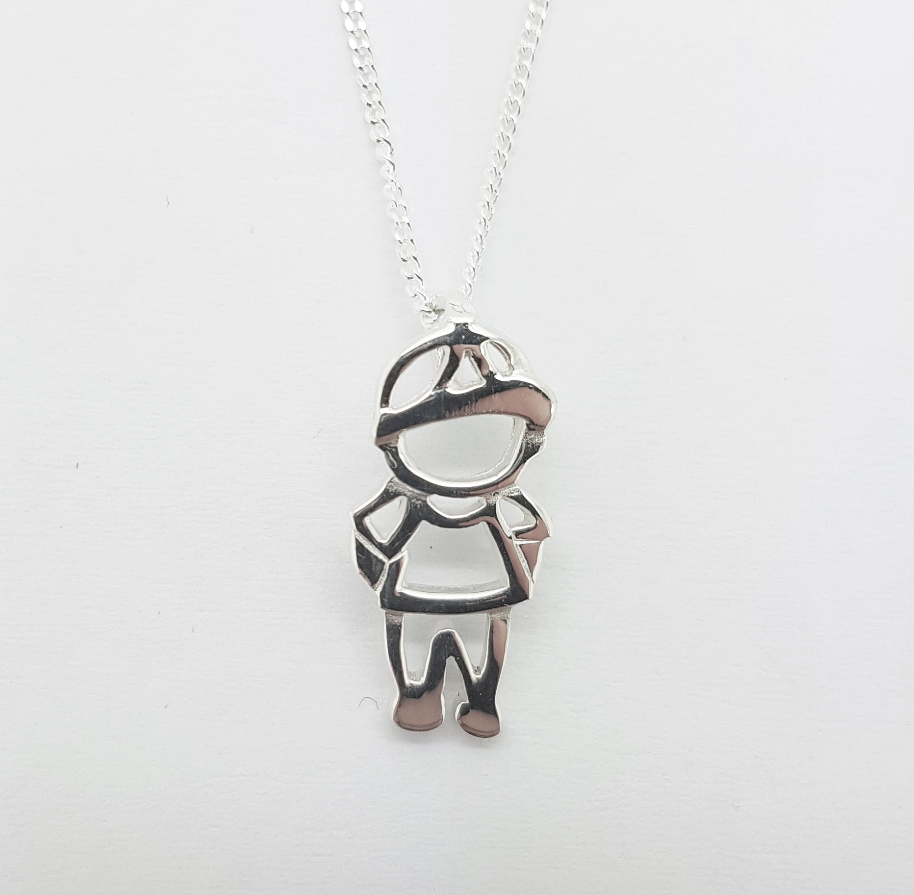Pretty Silver Boy Pendant with Chain
