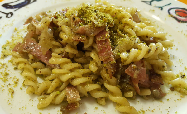 Penne with Smoked Bacon and Pistachio