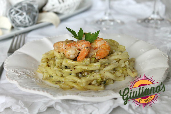 Pasta with Shrimp and Giuliano's Pistachio Pesto
