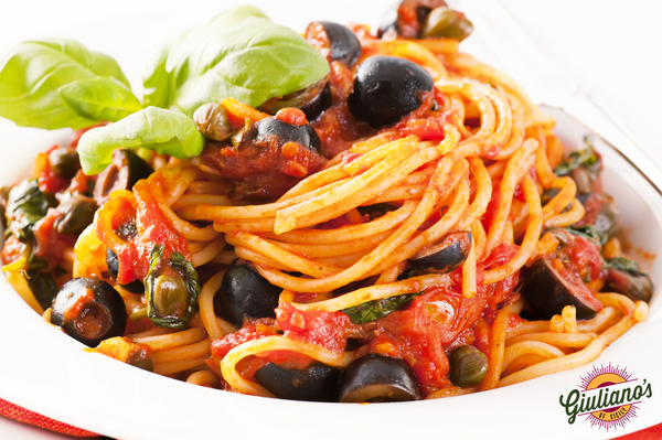 Guiliano's Linguine with Tomatoes, Capers and Black Olives