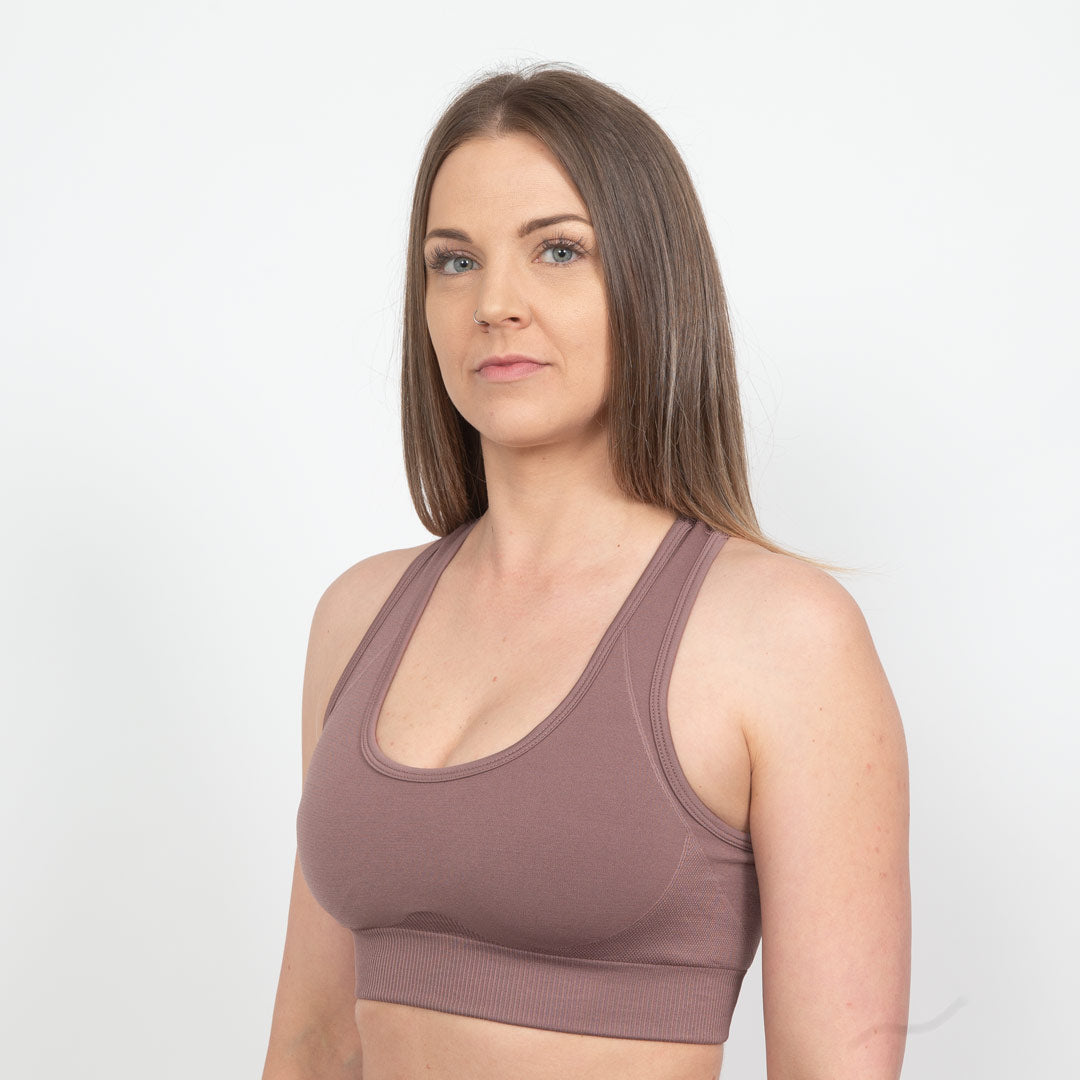 Beige Luminous Sports Bra