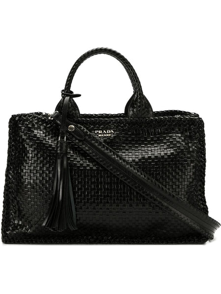 268f2c3a35e9 Black Leather Woven Tote Bag – KultBoutique